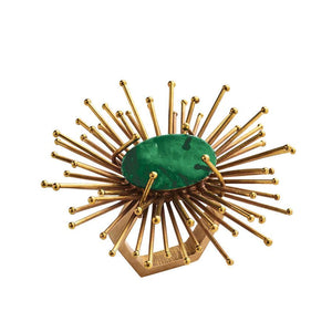 FLARE NAPKIN RING IN GOLD & EMERALD
