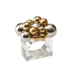 BAUBLE NAPKIN RING IN GOLD & SILVER