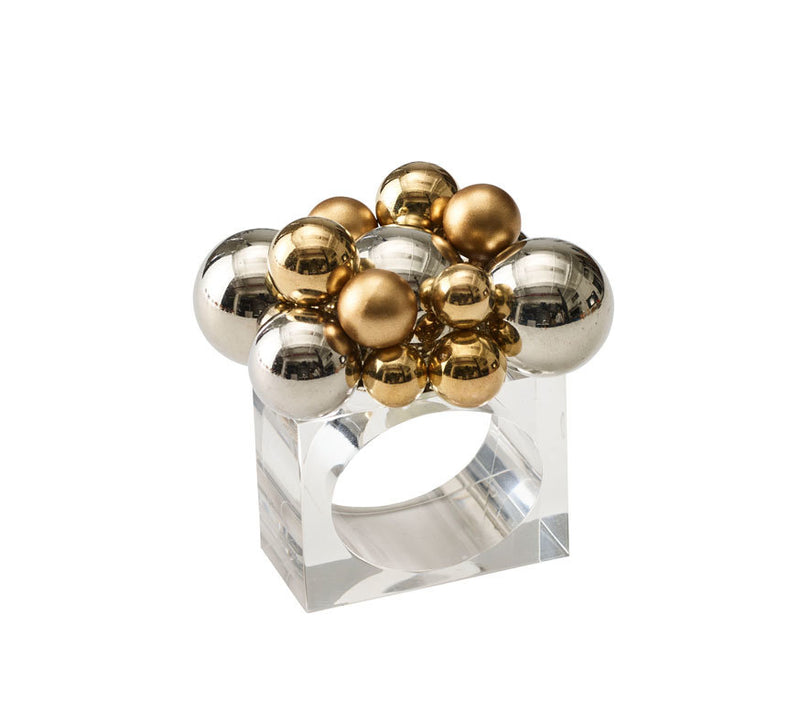 BAUBLE NAPKIN RING IN GOLD & SILVER - Pioneer Linens