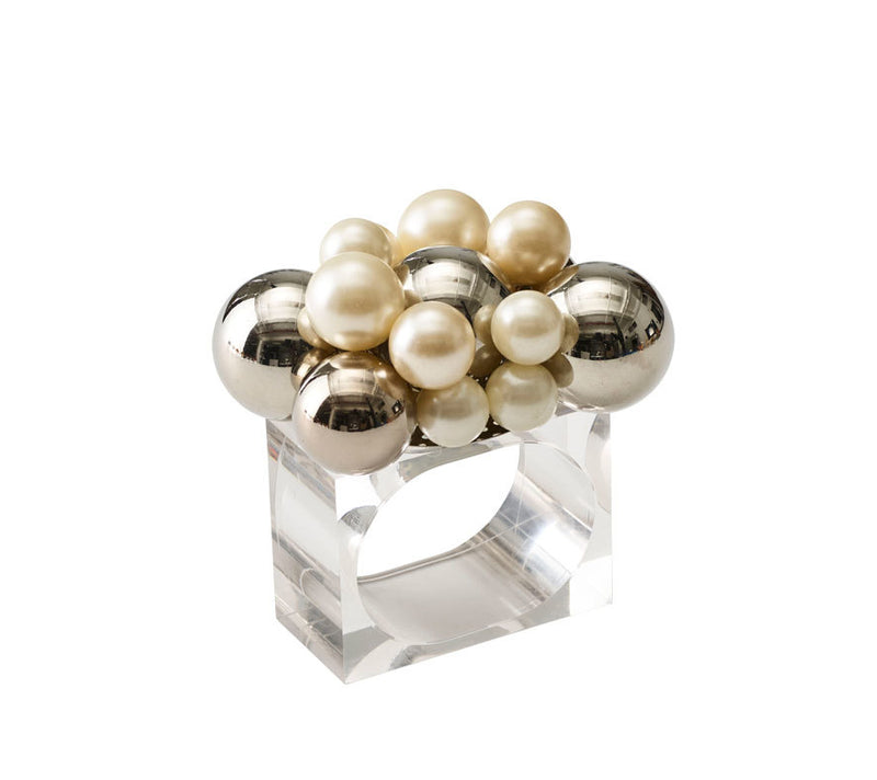 BAUBLE NAPKIN RINGS IN PEARL & SILVER