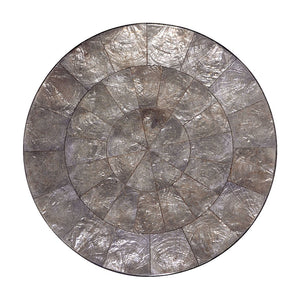 ROUND CAPIZ PLACEMATS IN GRAY