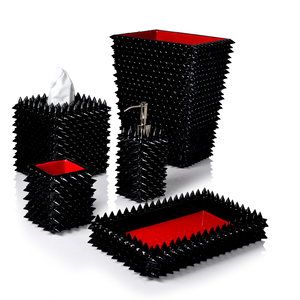 Quill Black Cones Embedded In Black Enamel With Red Trim Vanity Set