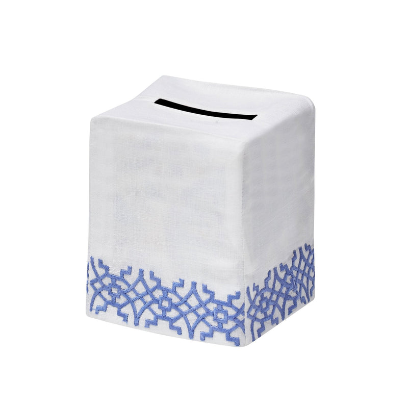 Chinois Tissue Box Cover Blue - Pioneer Linens