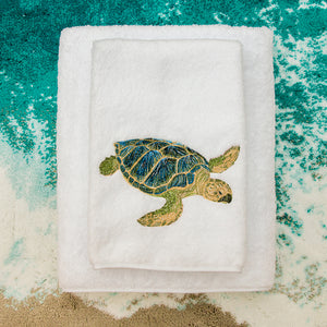 Blue Sea Turtle Towels