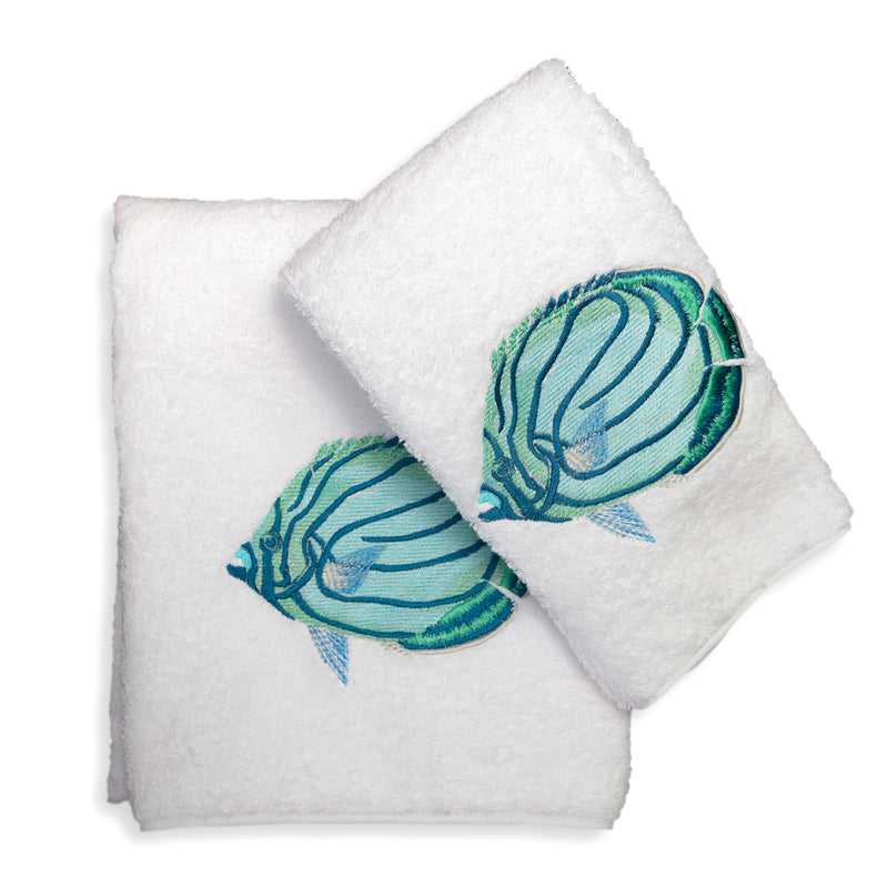Aqua Angel Fish Towels - Pioneer Linens