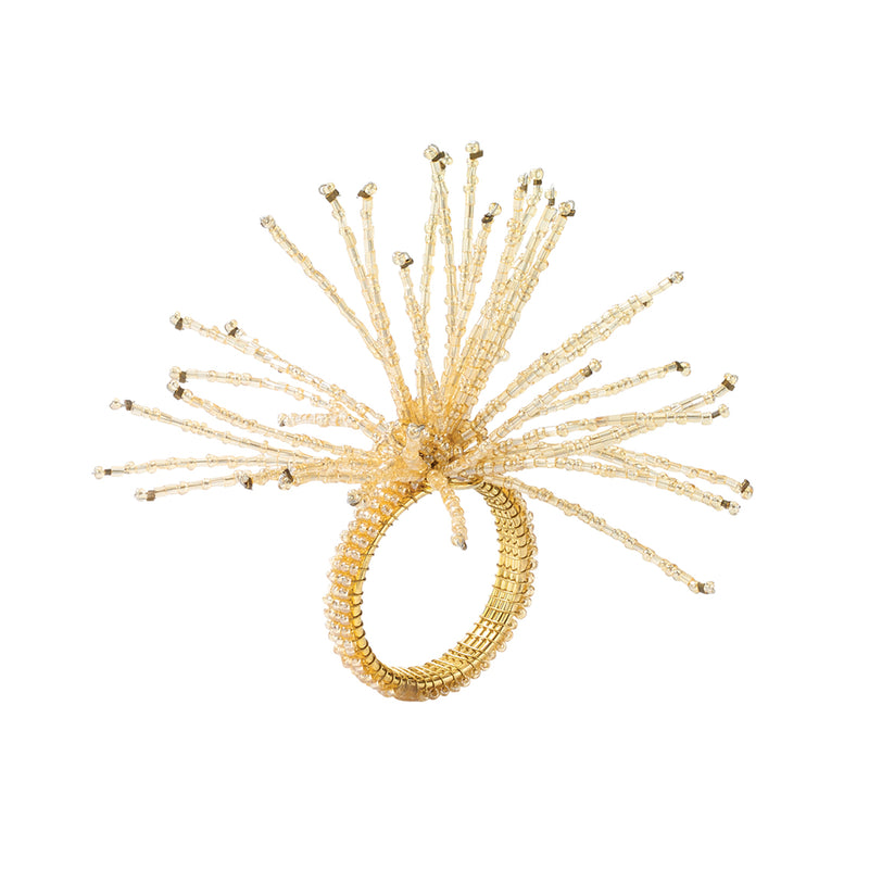 SPIDER BEAD BURST NAPKIN RING in Champagne - Pioneer Linens