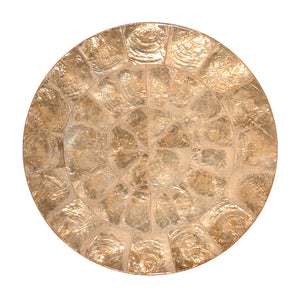 ROUND CAPIZ PLACEMAT IN CHAMPAGNE