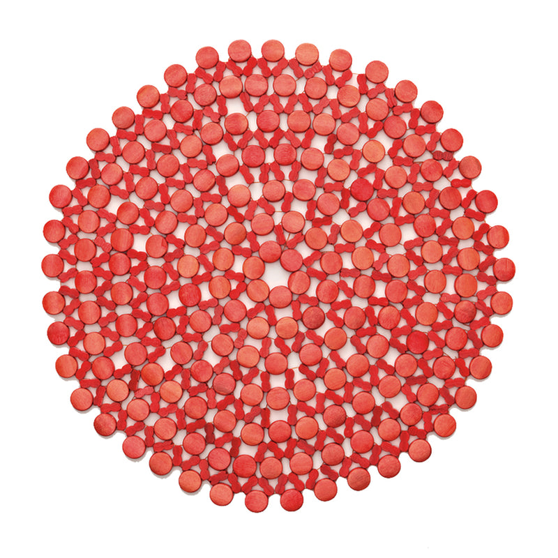 ROUND BAMBOO PLACEMAT IN CORAL - Pioneer Linens