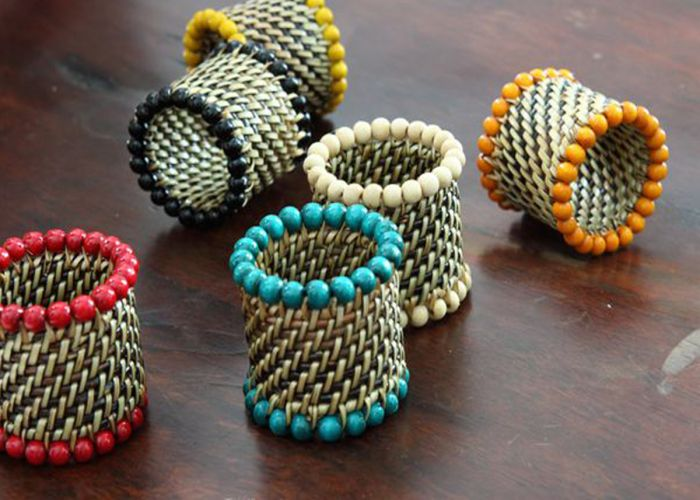 Woven Beaded Napkin Rings - Pioneer Linens