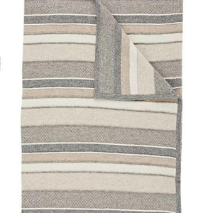 Kent Cashmere Throw In Ivory Beige Gray