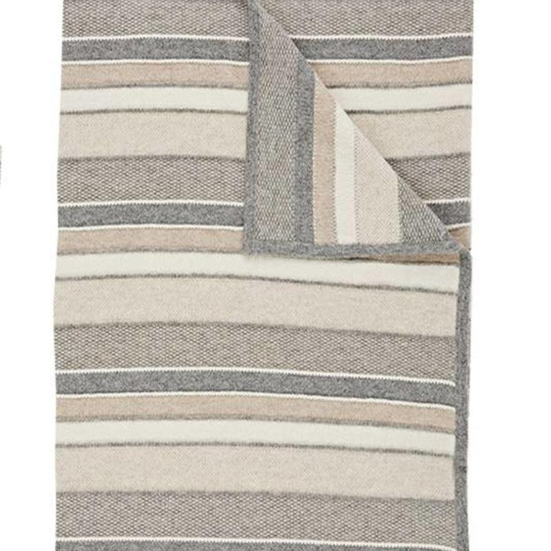 Kent Cashmere Throw In Ivory Beige Gray 30% off
