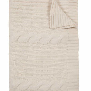 Roma Cashmere Throw In Ivory