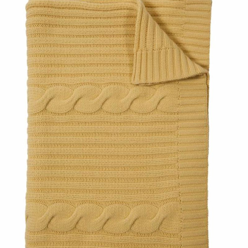 Roma Cashmere Throw In Yellow