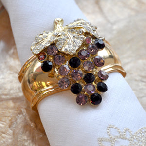 Crystal and Gold Grape - Napkin Ring