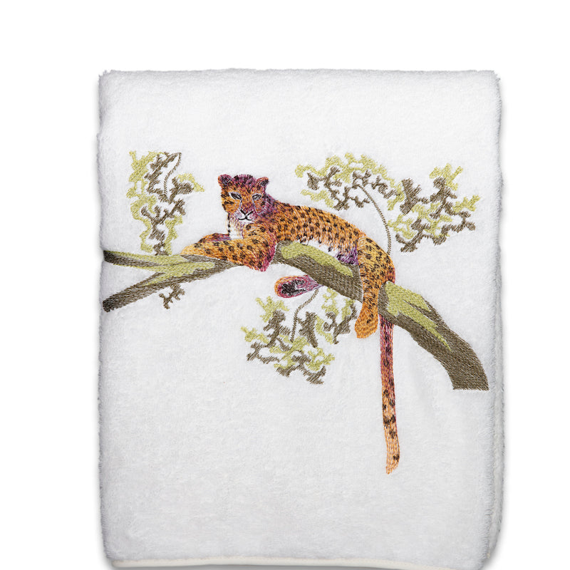 Tree Jaguar On White Towels - Pioneer Linens
