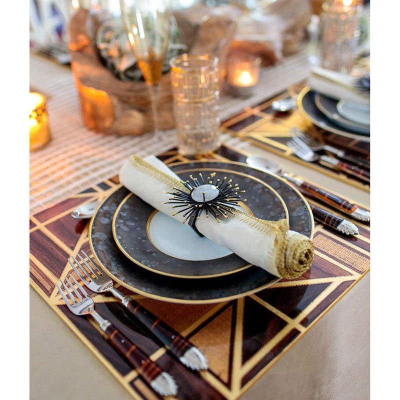 FLARE NAPKIN RING IN GOLD & BLACK - Pioneer Linens