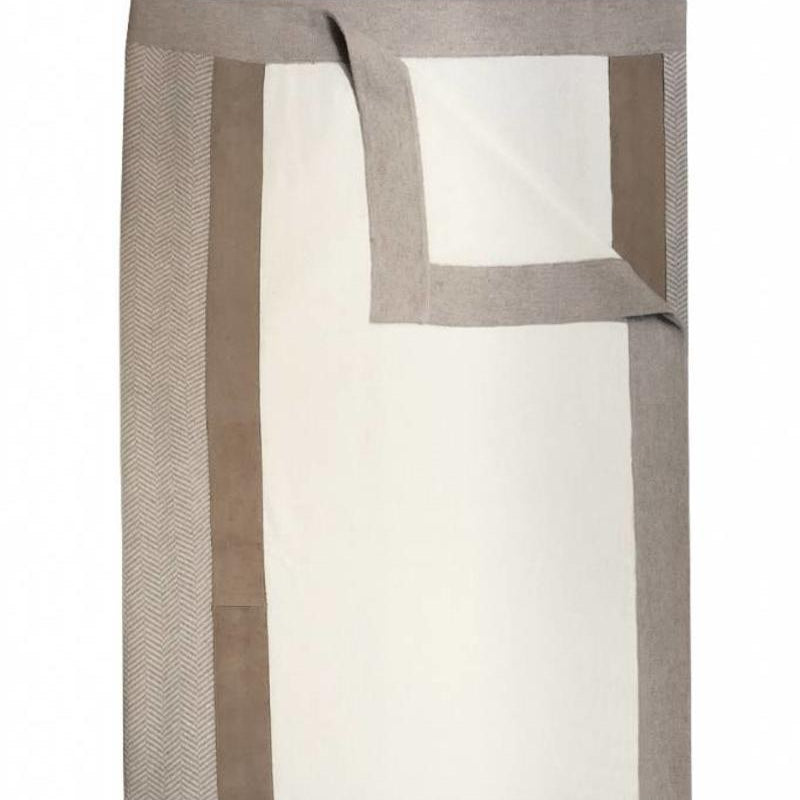 London Cashmere Throw With Suede Detail In Ivory Sand 30% off