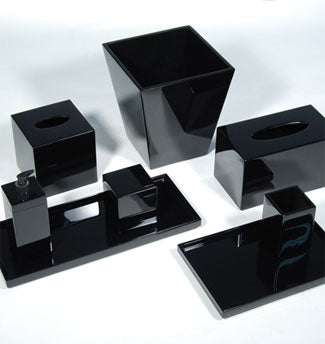 Black Lacquer Vanity Set - Pioneer Linens