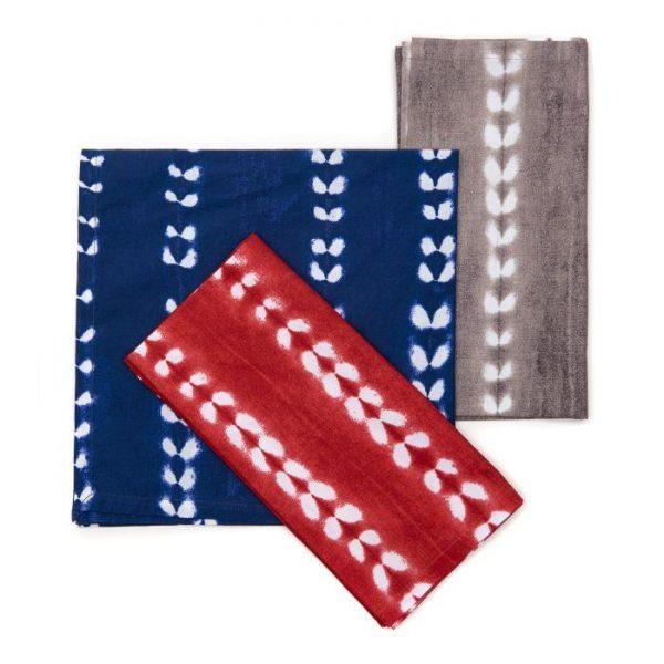 Block Stripe Tie-Dye Cotton Napkins - Pioneer Linens