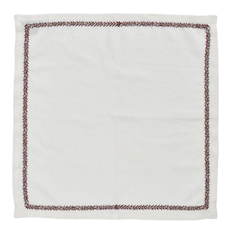 Jardin Napkins in White Red - Pioneer Linens