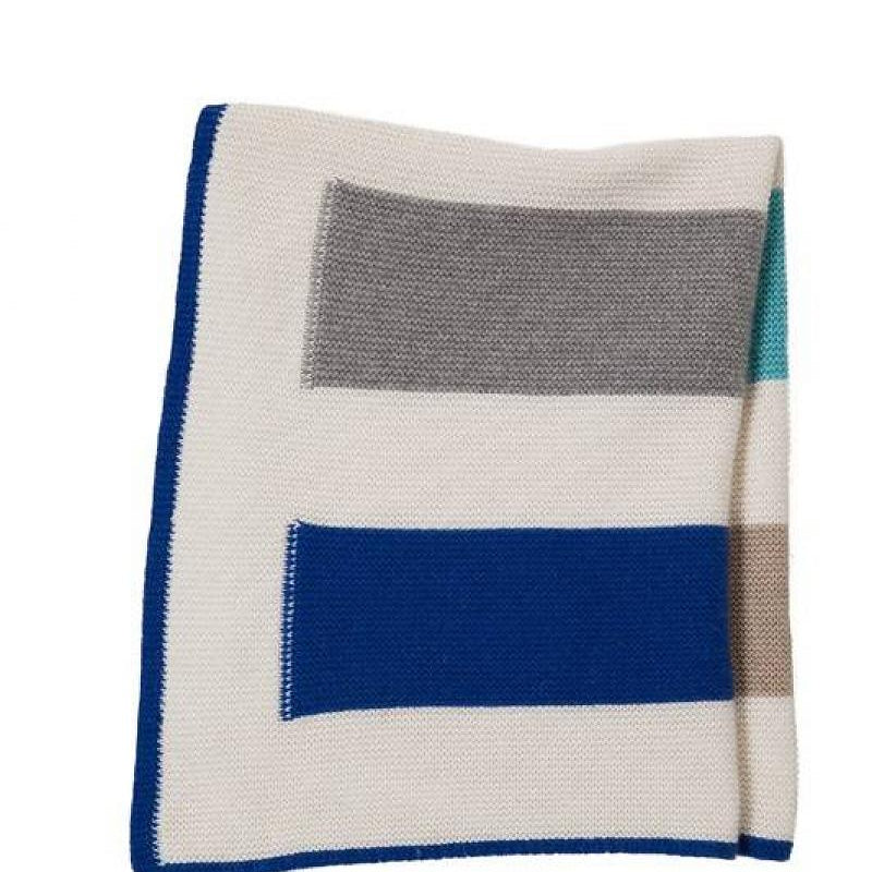 Yoyo Cashmere Blue Striped Baby Blanket