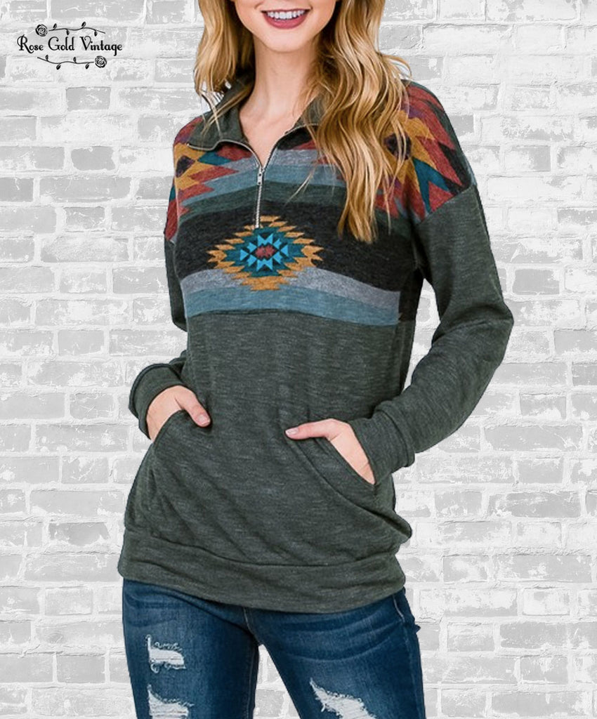 Aztec Quarter Zip Pocket Top - Olive