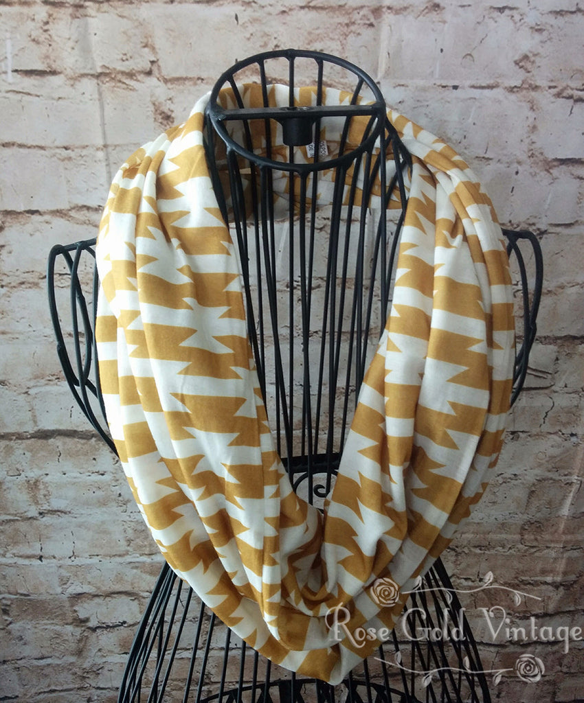 Aztec Infinity Scarf - Golden Yellow