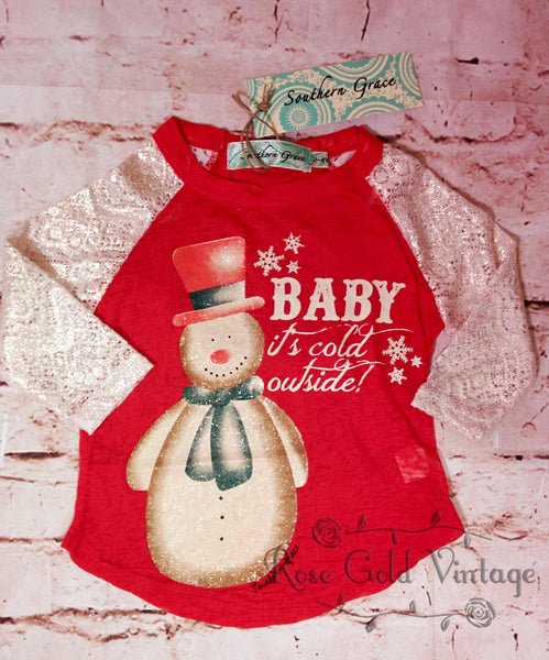 Baby It's Cold Outside Lace Sleeve Burnout Tee (Toddler & Youth)