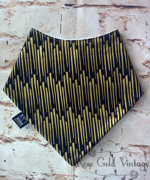 Black & Gold Geometric Bibdana