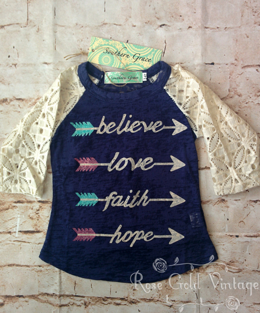 Believe, Faith, Love, Hope Lace Sleeve Burnout Tee (Toddler & Youth)
