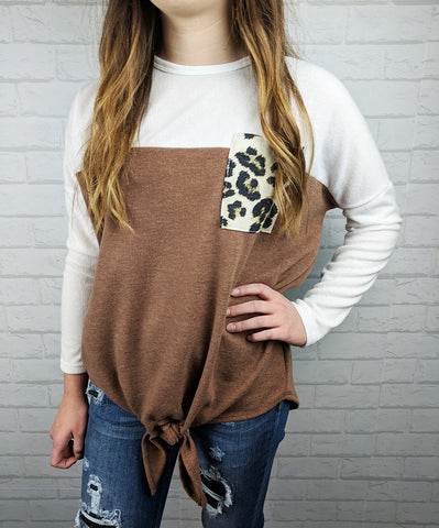 Tie Front Leopard Pocket Top - Mocha