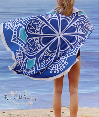 Round Beach Throw - Blue