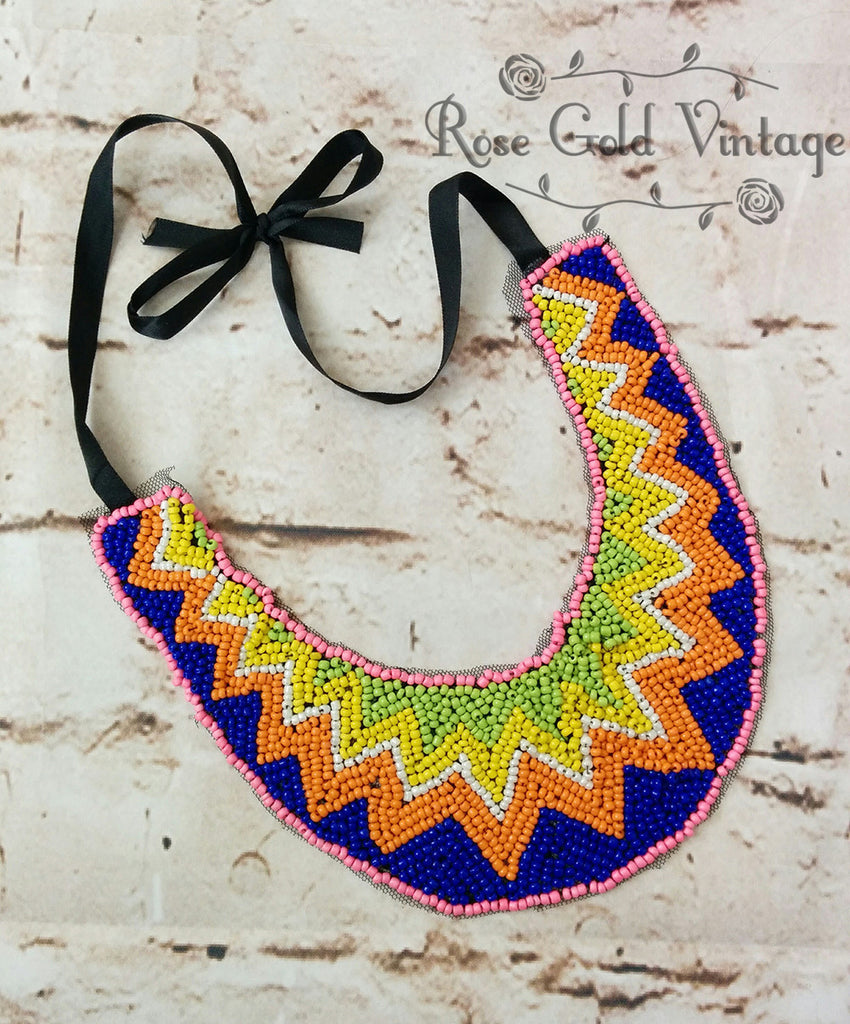 Beaded Aztec Bib Necklace