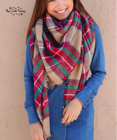 Oversized Perfect Plaid Blanket Scarf - Beige