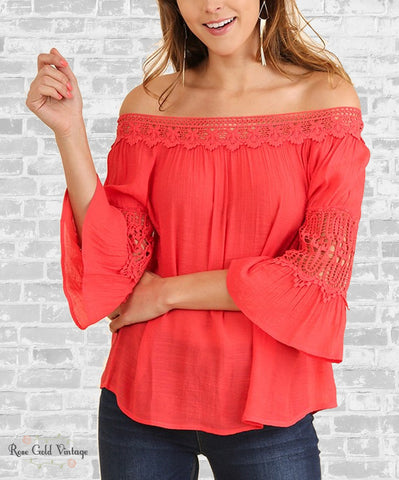 Off Shoulder Peasant Top - Coral