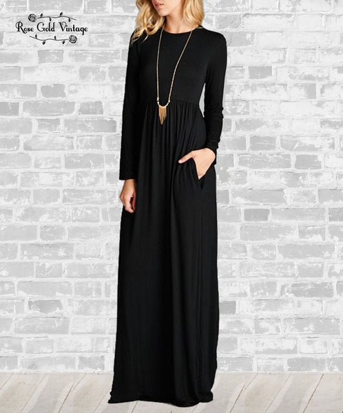 Long Sleeve Pocket Maxi Dress - Black