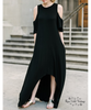 Cold Shoulder Hi-Lo Maxi Dress - Black