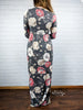 3/4 Sleeve Floral Pocket Maxi Dress - Charcoal