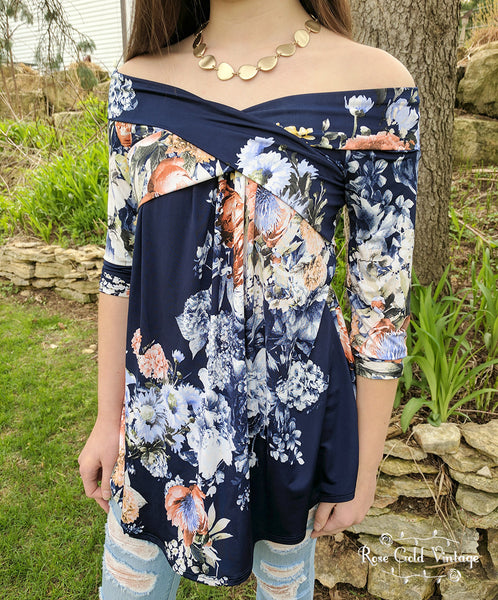 Floral Crossover Top - Navy