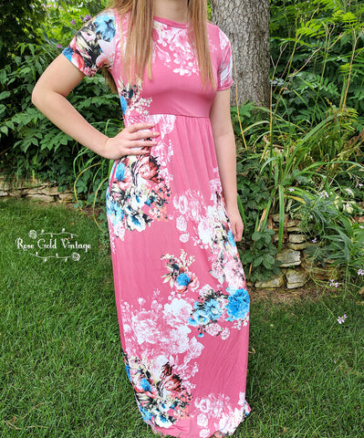 Tshirt Floral Pocket Maxi Dress - Dark Pink