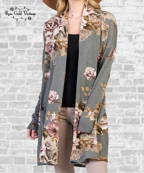 Floral Pocket Cardigan - Gray