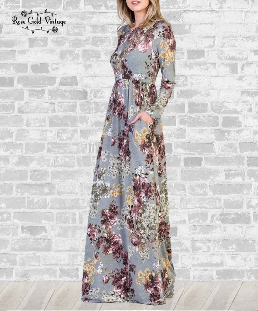 Long Sleeve Pocket Maxi Dress - Gray Floral