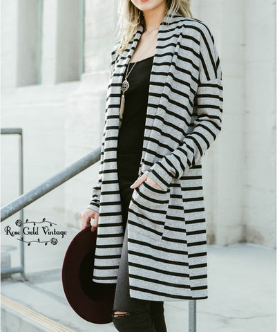 Striped Pocket Cardigan - Gray & Black