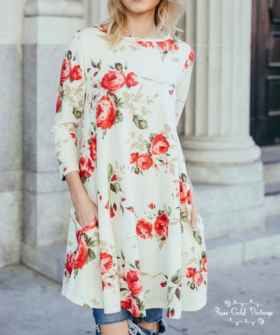 Floral A-Line Pocket Dress - Ivory