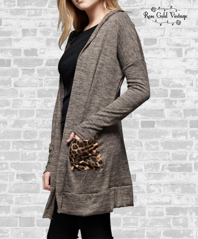 Leopard Pocket Hooded Cardigan - Mocha
