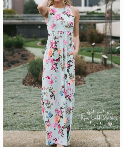 Floral Pocket Maxi Dress - Mint