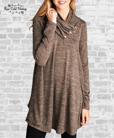 Button Trim Cowl Tunic - Mocha