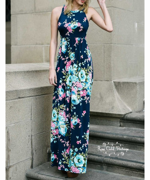 Floral Pocket Maxi Dress - Navy