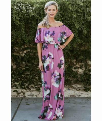 Off Shoulder Floral Maxi Dress - Purple