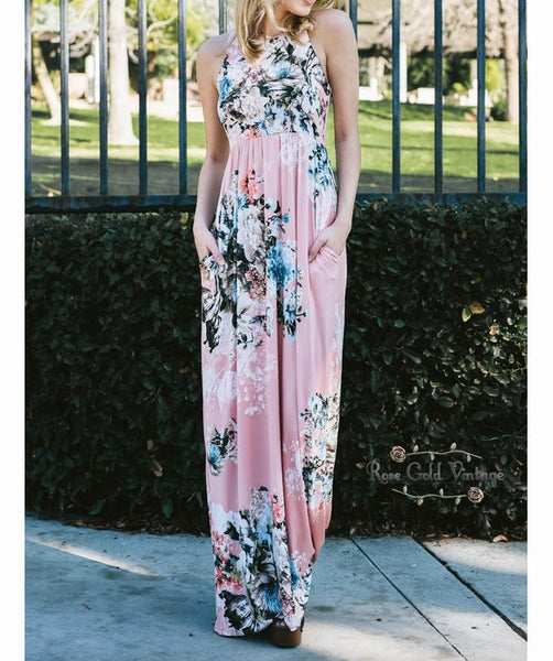 Floral Pocket Maxi Dress - Pink